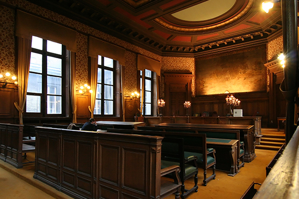 An image of an empty courtroom